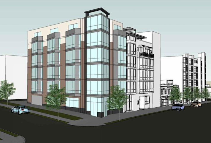 A rendering of the multifamily building with retail planned at 3831 Georgia Ave. NW