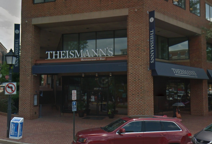 Theismann's Restaurant and Bar sits across from the King Street Metro station in Alexandria