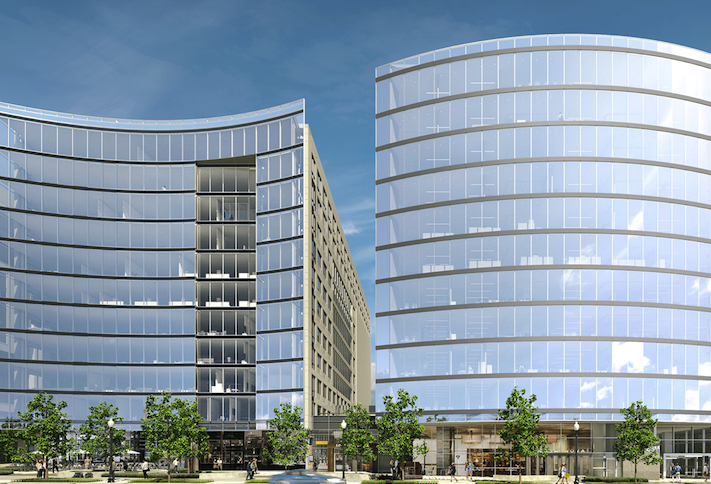 A rendering of the two office buildings planned at NoMa's Tyber Place, which Skanska has decided not to build on spec.