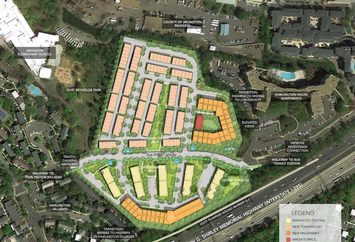 A site plan of the planned 717-unit Park Shirlington redevelopment