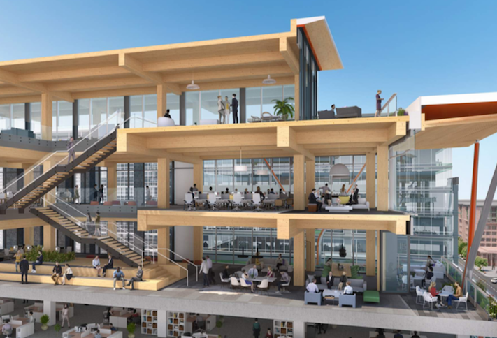 A rendering of the mass timber addition planned for Columbia Property Trust's 80 M St. SE