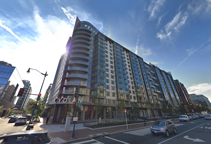 The Lydian apartment building, which delivered in 2018 at 400 K St. NW