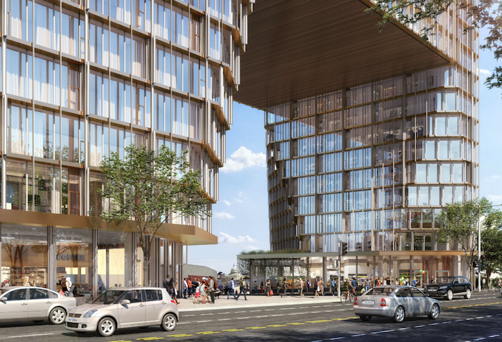 A rendering of the project Edens plans at the New York Avenue-4th Street NE intersection
