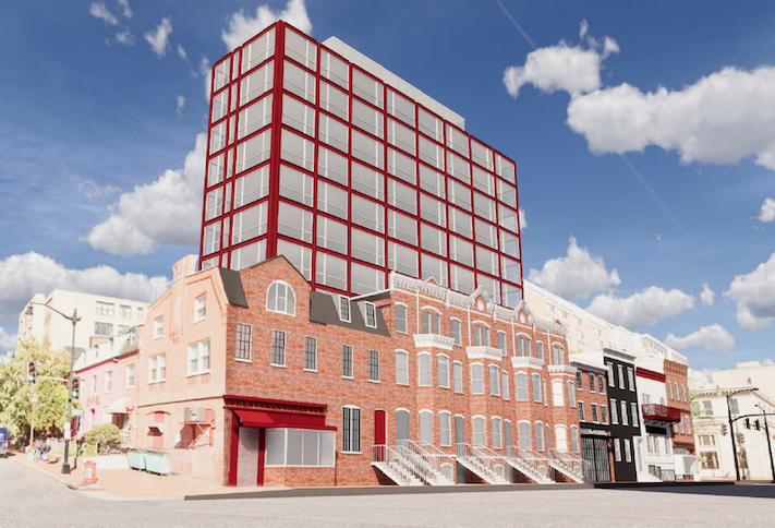 A rendering of the hotel project Acumen Cos. has planned on H Street NW between Fifth and Sixth streets in Chinatown