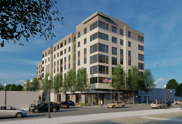 A rendering of the redevelopment on the American Legion site in Arlington's Virginia Square neighborhood