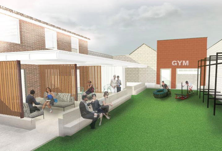 A rendering of the outdoor patio and gym at The Loop
