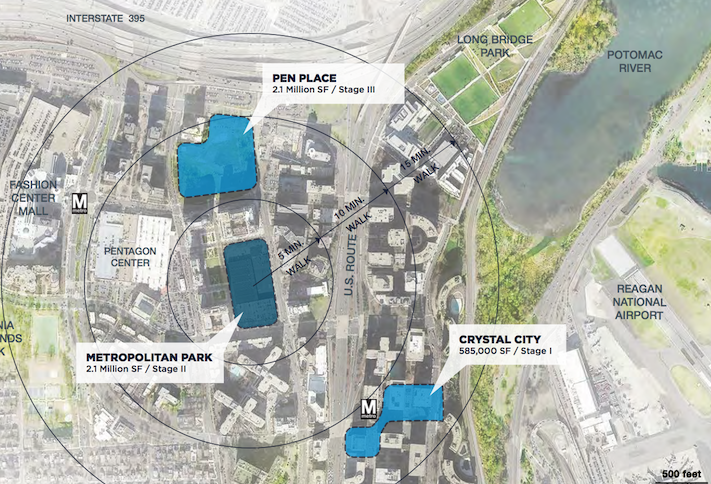 A map showing the proximity between Amazon's leased space in Crystal City and its two phases of new development planned in Pentagon City.