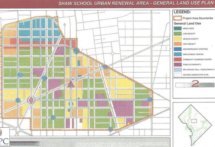 A map showing the Shaw School Urban Renewal area and the land-use categories for each block.