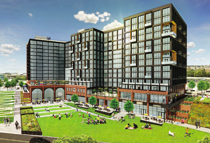 A rendering of the 900-unit project planned at 1333 M St. SE.