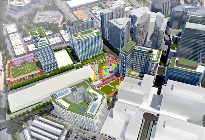 An aerial rendering of Georgelas Group's proposed Spring Hill North development in Tysons.