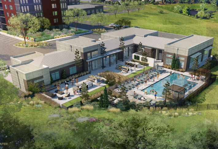 A rendering of the standalone amenity building and outdoor pool at The NRP Group's Motiva project in Greenbelt.
