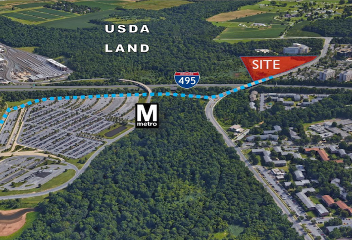 A map showing the Motiva site and its proximity to the Greenbelt Metro station.