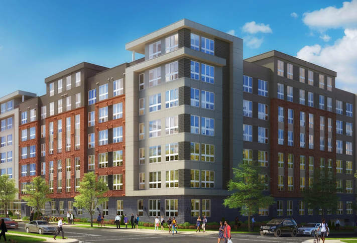 A rendering of Eleven Parkside, a 191-unit apartment building at 800 Kenilworth Terrace NE.