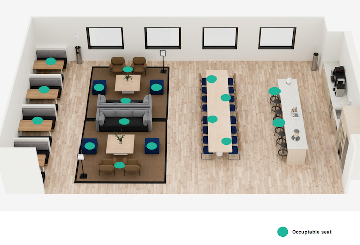 An example of a WeWork lounge area with the dots representing where people can sit under new social distancing measures.