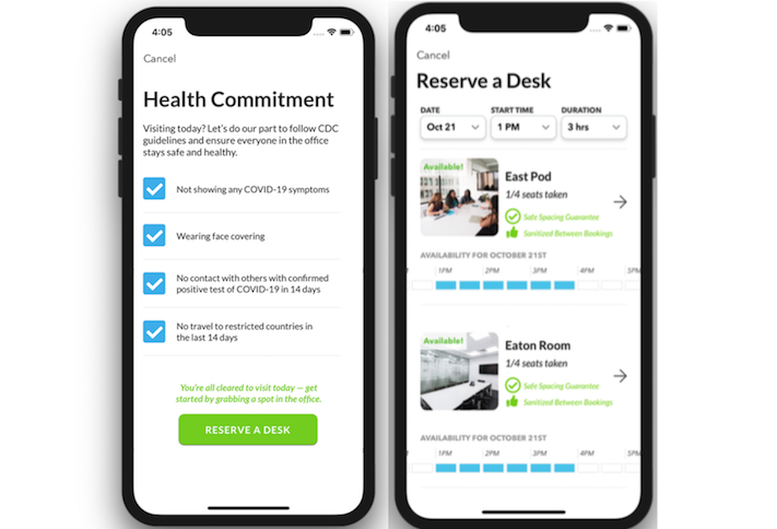 Pages on Cove's mobile app for employees returning to the office.