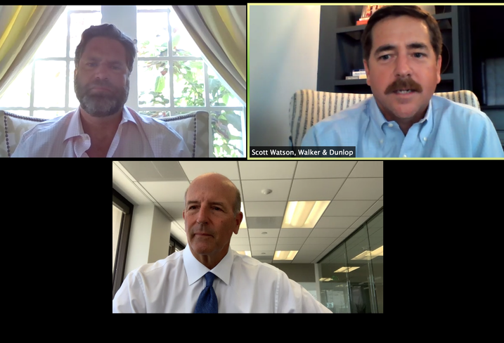 Ocean West Principal Russ Allegrette, Walker & Dunlop Managing Director Scott Watson and KBS CEO Charles Schreiber discuss the state of the office market during a Bisnow webinar on May 19.