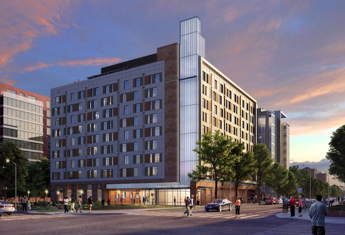 A rendering of the 222-unit development planned at 400 Eye St. SW.