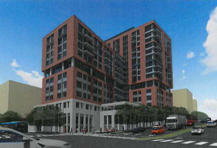A rendering of the senior-living building proposed at The Boro.