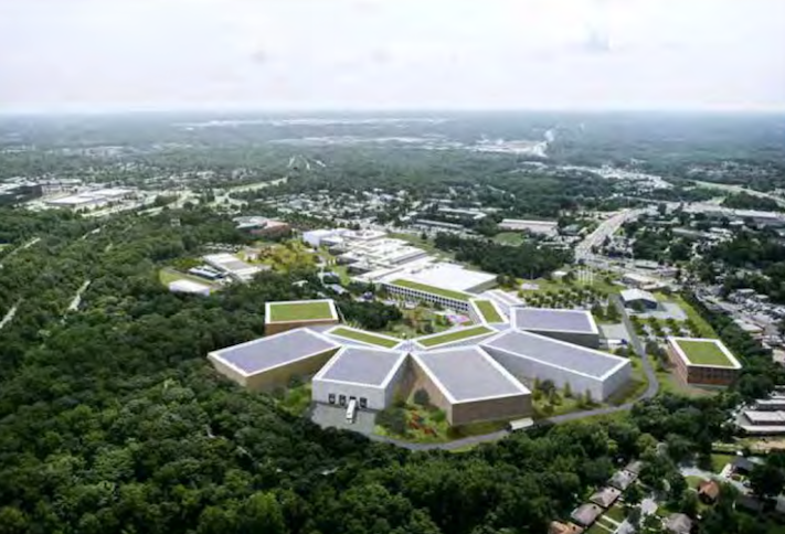 A rendering of the proposed development on the Smithsonian's Suitland Collections Center campus.