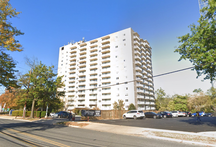The Westwood Tower apartment complex at 5401 Westbard Ave. in Bethesda.