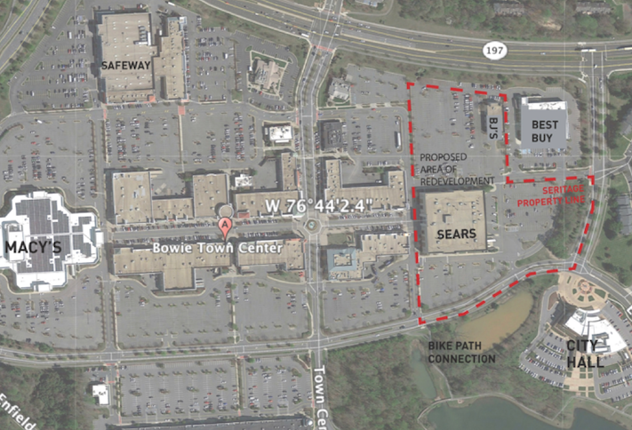 A map of Bowie Town Center showing Seritage's proposed redevelopment site outlined in red.
