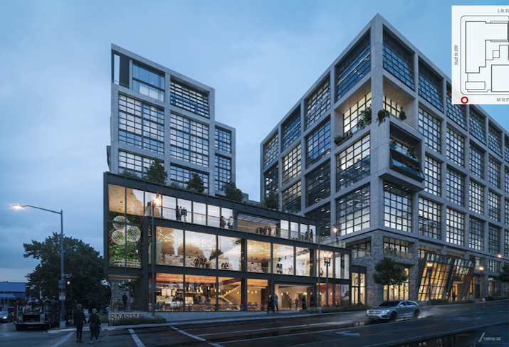 A rendering of the mixed-use project planned at the corner of South Capitol and M streets SW.
