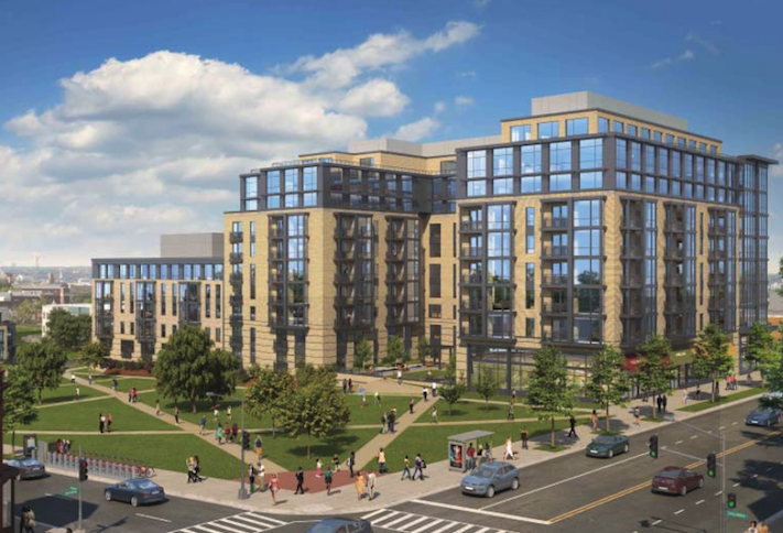 A rendering of the 273-unit Park Morton project at the intersection of Georgia Avenue and Irving Street NW.