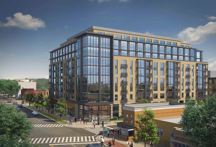 A rendering of the Park Morton project at the intersection of Georgia Avenue and Irving Street NW.