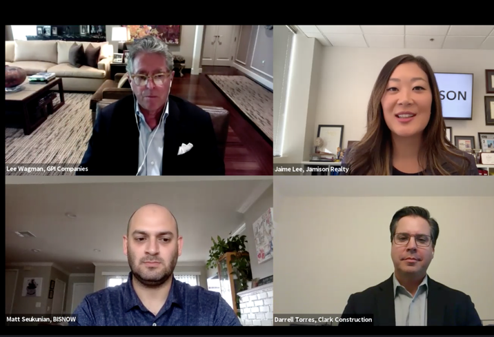 GPI Cos.' Lee Wagman, Jamison Realty's Jaime Lee, Clark Construction's Darrell Torres and Bisnow's Matt Seukunian discuss major Southern California construction projects during a Bisnow webinar