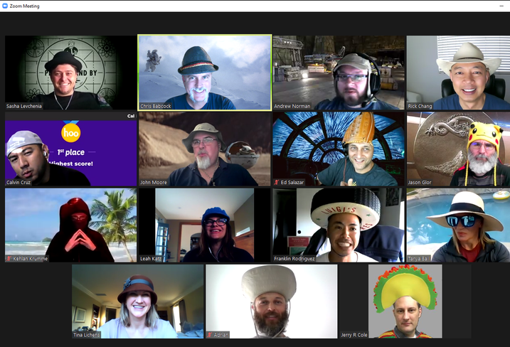 The Lightbox team having a hat-py hour meeting