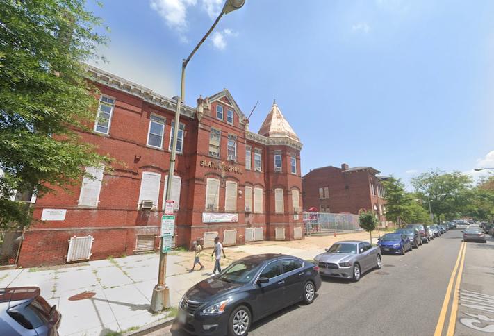 The former Slater Elementary School and John Mercer Langston Elementary School buildings at 33-45 P St. NW.