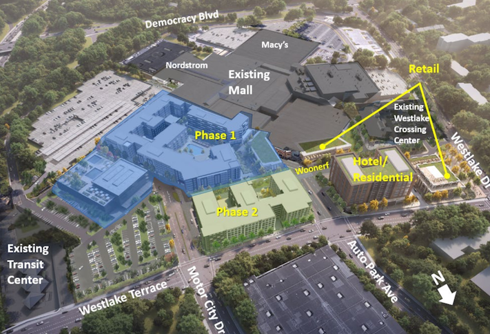 An aerial rendering of the phased development planned for the Westfield Montgomery mall.