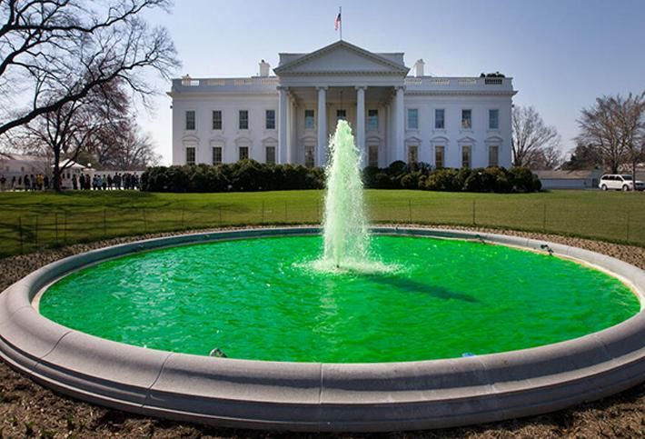 The White House fountain dyed green for St. Patrick's Day