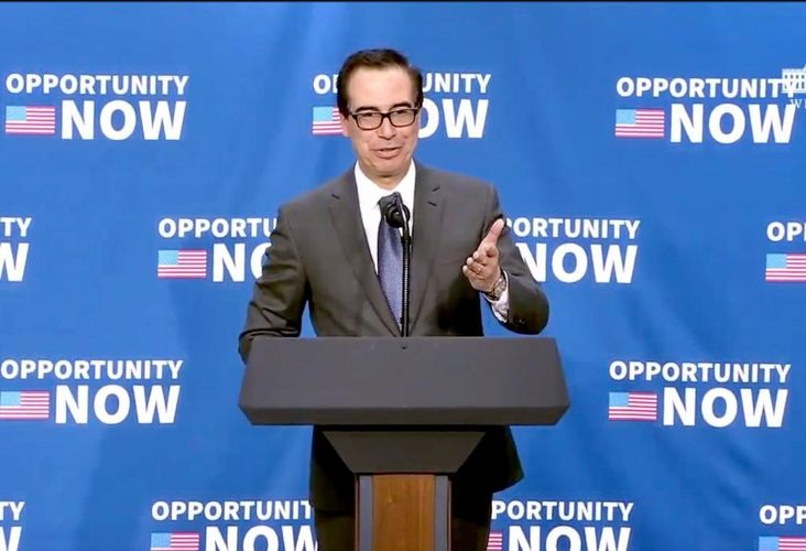 US Treasury Secretary Steve Mnuchin discusses the opportunity zone program during a press conference in April at the White House.
