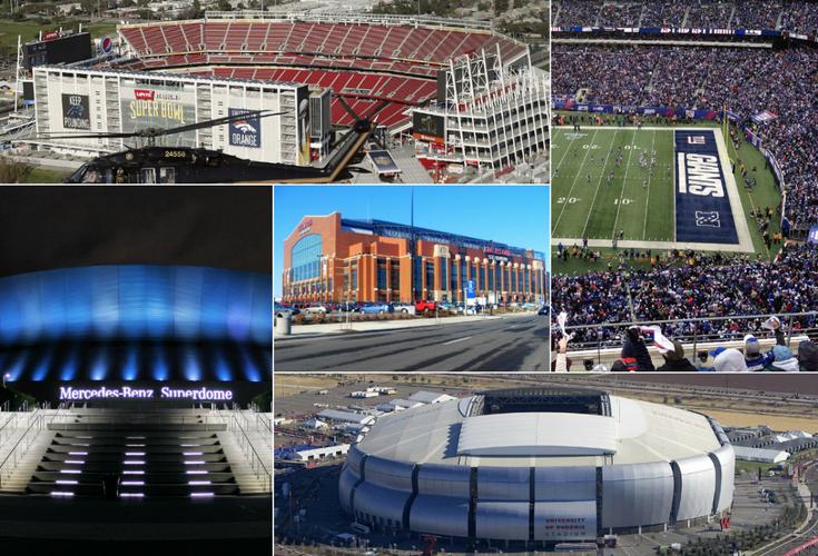 Super Bowl Stadium Collage