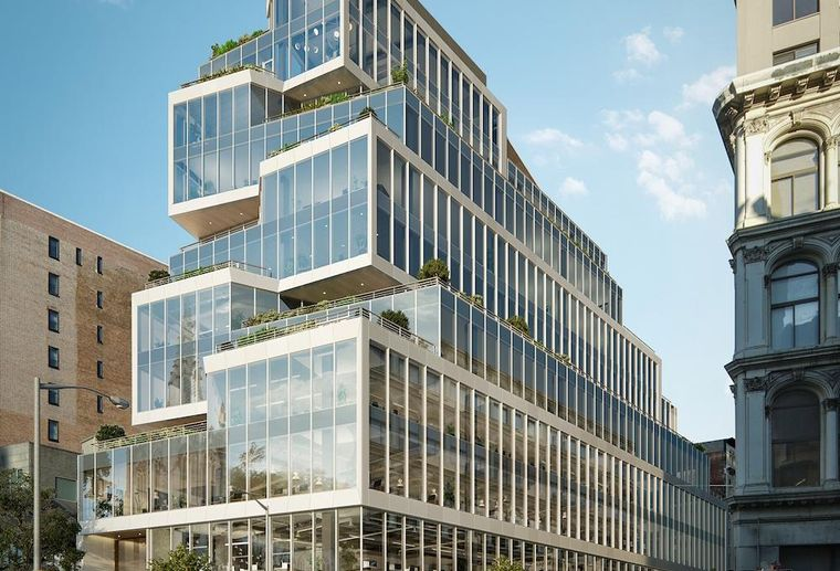 Rendering of 799 Broadway, a new office building in Midtown South, Manhattan
