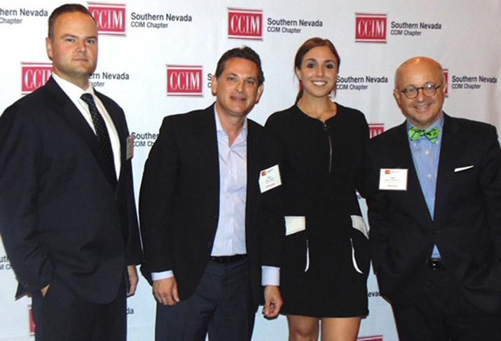 From left, Snell & Wilmer's Kade Miller and Marc Schultz,  Natalie Wainwright and DV Financial Services's James D. Howard Jr .