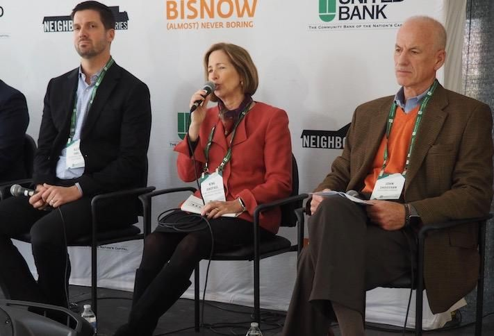 Arlington Economic Development's Alex Iams, Arlington Partnership for Affordable Housing's Nina Janopaul and Shooshan Cos.' John Shooshan