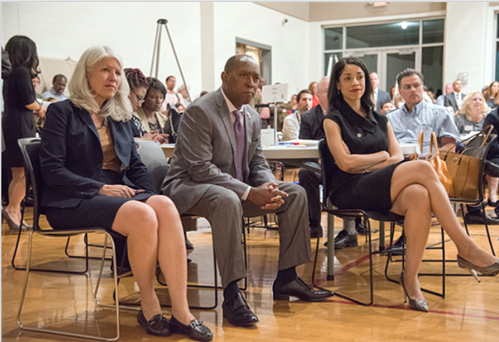 Houston Mayor Sylvester Turner listens in on a Complete Communities meeting in Houston's Second Ward