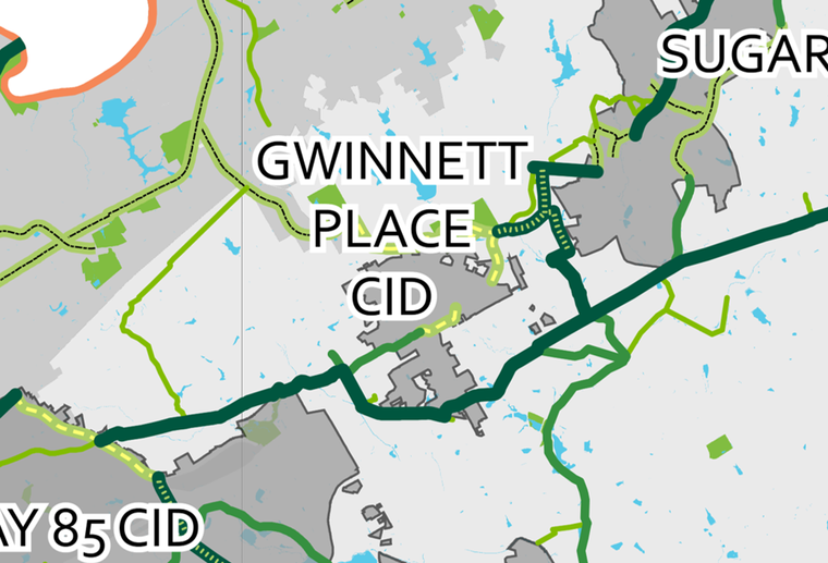 A map of existing and proposed trails surrounding the Gwinnett Place CID