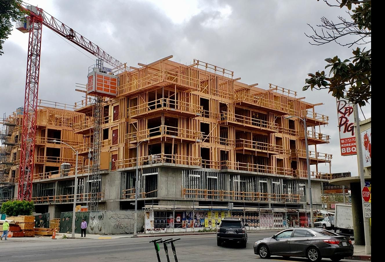 Construction of a multifamily building at 3100 W. 8th Street in the Koreatown neighborhood of Los Angeles