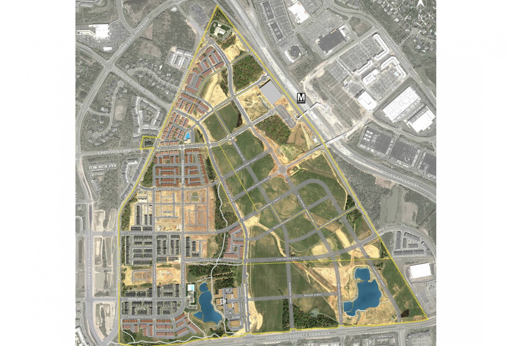 An aerial view of the Moorefield Station site shows the development began with housing on the parcels farthest from the Metro station